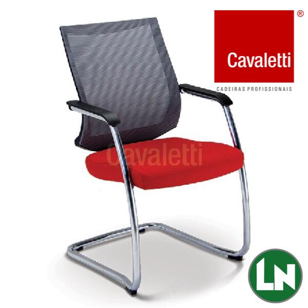 Cavaletti Air 27006 Encosto em Tela, Braços Integrados, Estrutura S Cromada, Preta ou Prata