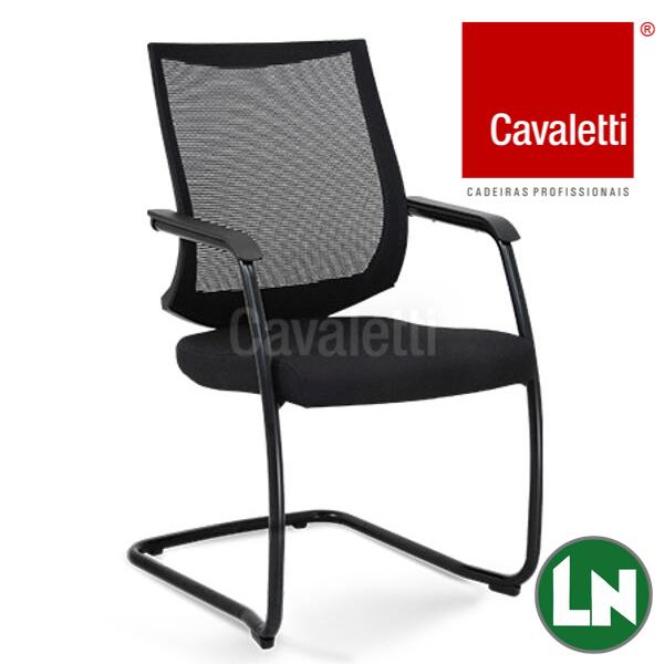 Cavaletti Air - 27006 Encosto em Tela, Braços Integrados, Estrutura S Cromada, Preta ou Prata