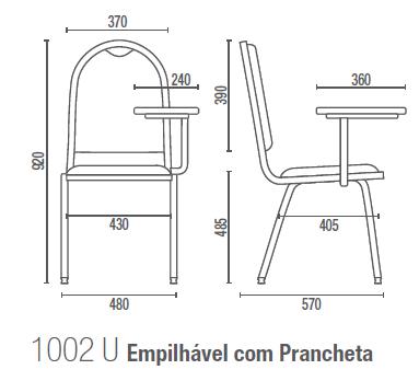 Coletiva 1002 U Empilhável com Prancheta
