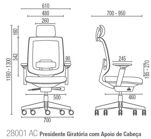 C3 28001 AC Presidente Giratória com Apoio de Cabeça