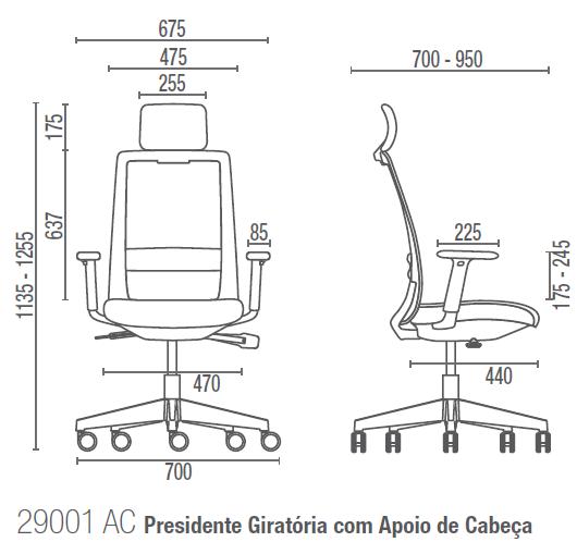 C4 29001 AC Presidente Giratória com Apoio de Cabeça